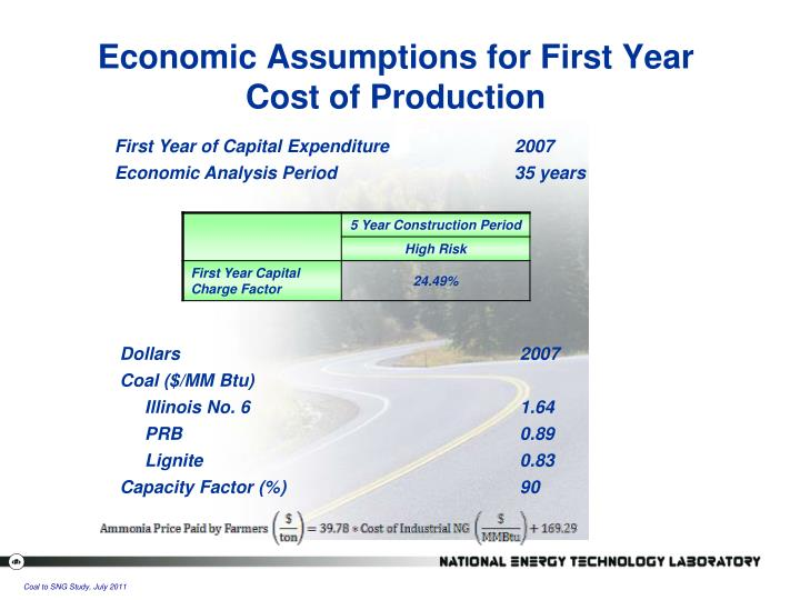 Economic Assumptions for First Year Cost of Production