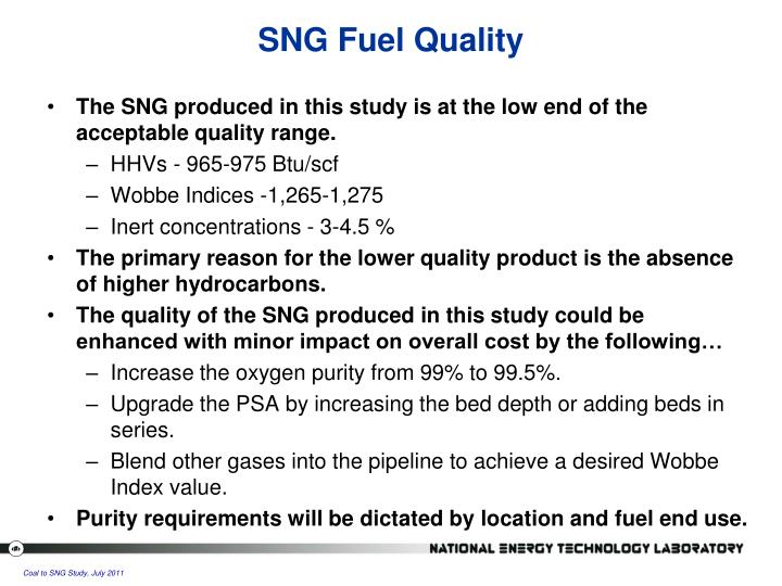 SNG Fuel Quality