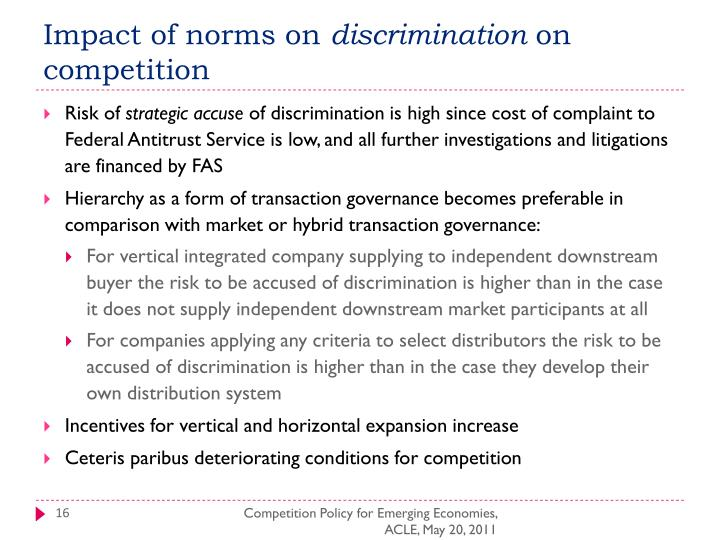Impact of norms on