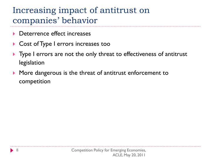 Increasing impact of antitrust on companies' behavior