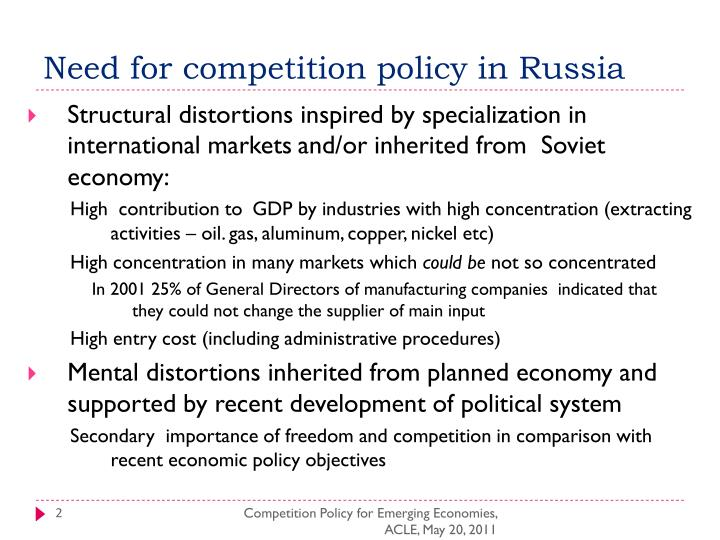 Need for competition policy in Russia