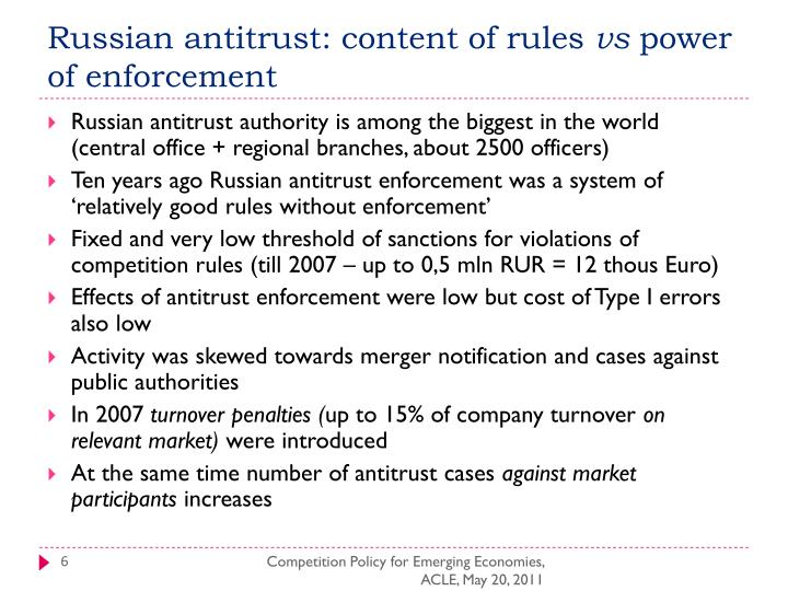 Russian antitrust: content of rules