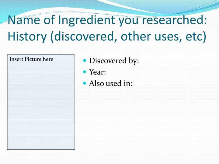 Name of Ingredient you researched: