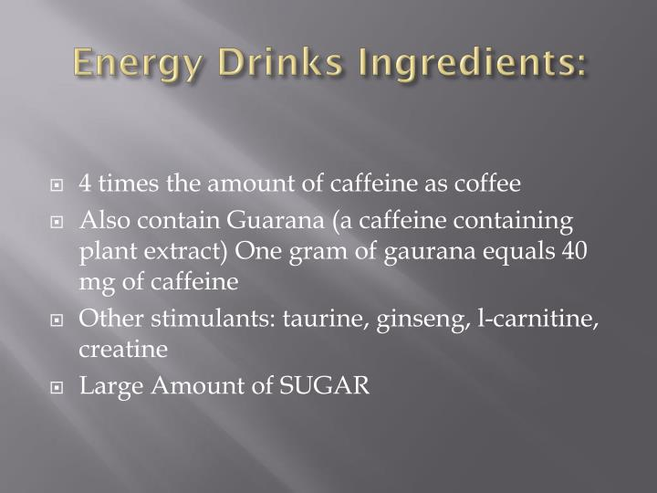 Energy Drinks Ingredients: