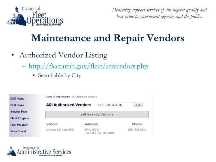 Maintenance and Repair Vendors