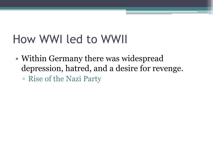 How WWI led to WWII