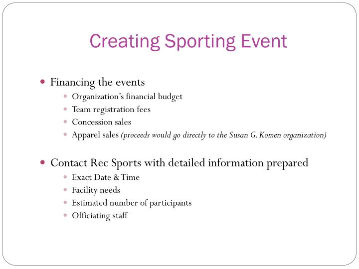 Creating Sporting Event