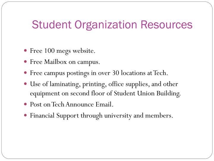 Student Organization Resources