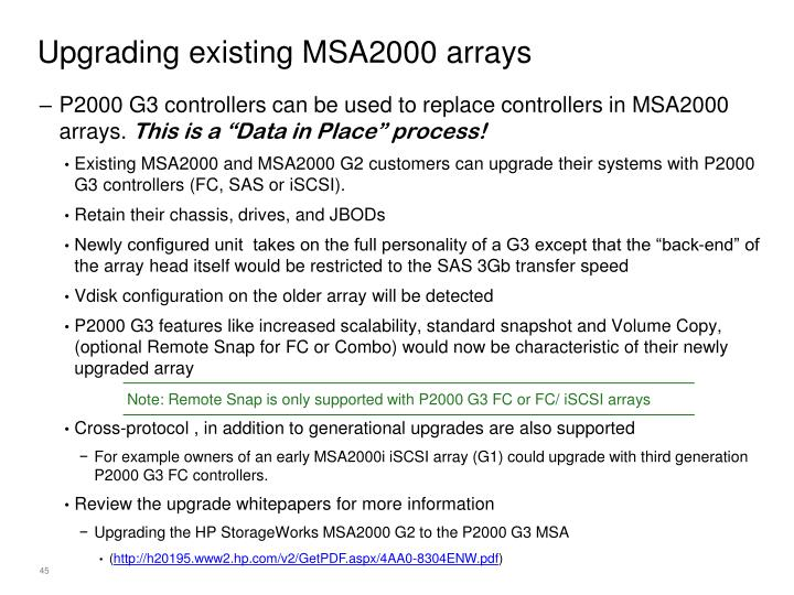 Upgrading existing MSA2000 arrays