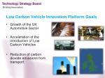 low carbon vehicle innovation platform goals