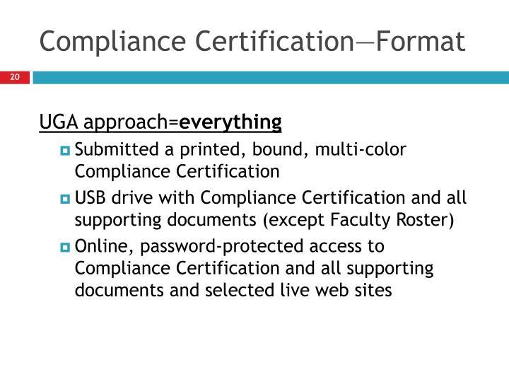 Compliance Certification—Format