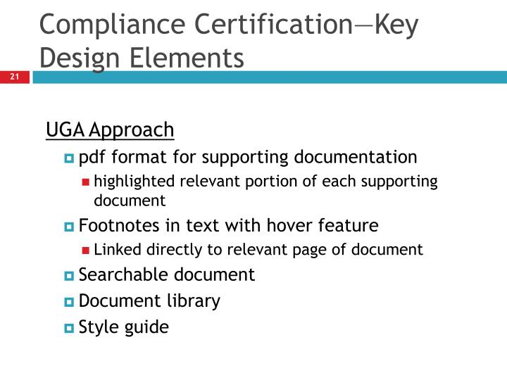 Compliance Certification—Key Design