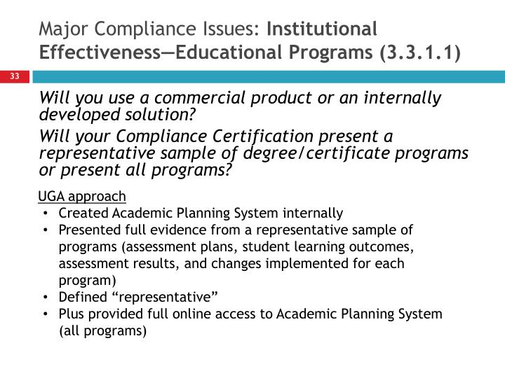 Major Compliance Issues:
