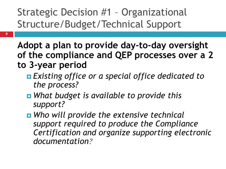 Strategic Decision #1 – Organizational Structure/Budget/Technical Support
