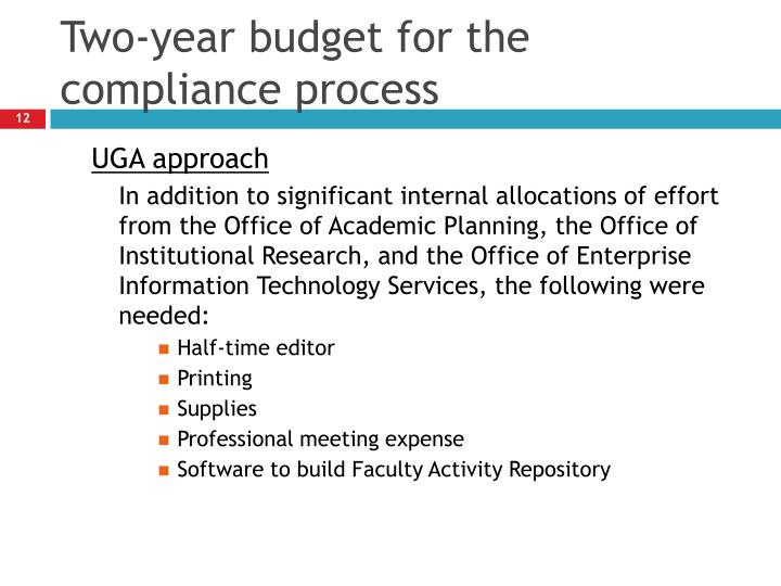 Two-year budget for the compliance process