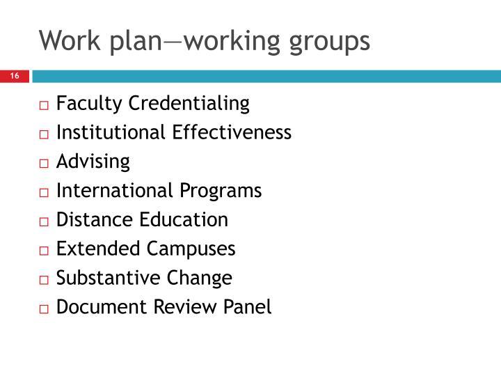 Work plan—working groups