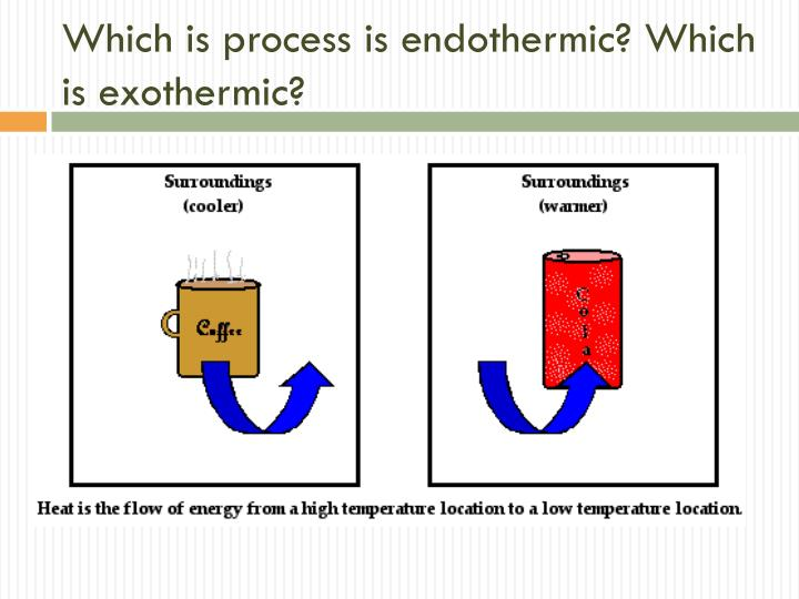 Which is process is endothermic? Which is exothermic?