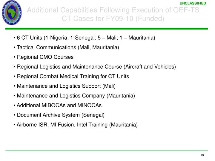 Additional Capabilities Following Execution of OEF-TS CT Cases for FY09-10 (Funded)