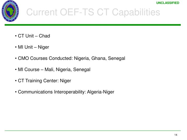 Current OEF-TS CT Capabilities