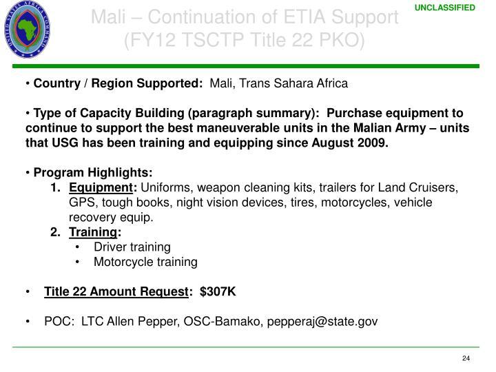 Mali – Continuation of ETIA Support