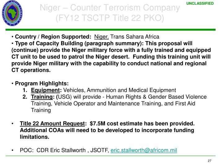 Niger – Counter Terrorism Company