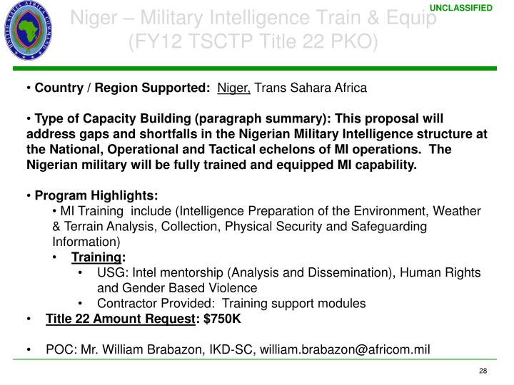 Niger – Military Intelligence Train & Equip