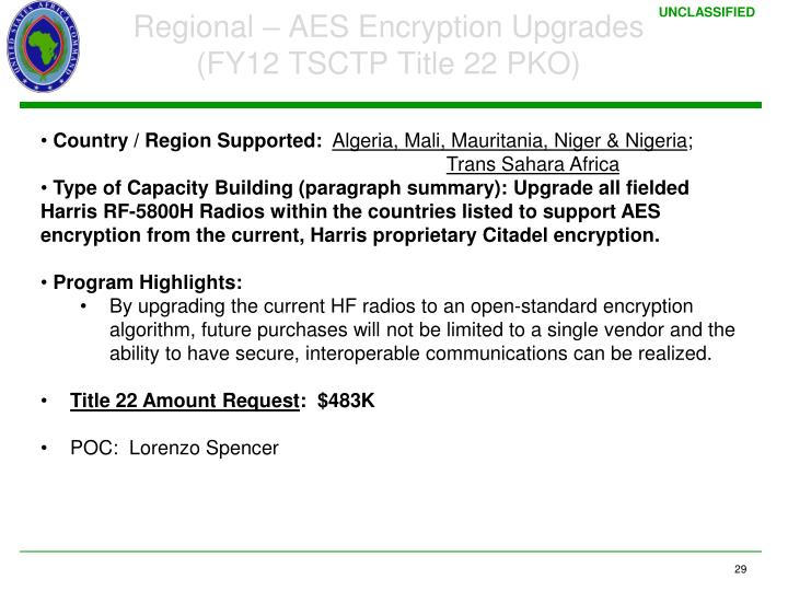 Regional – AES Encryption Upgrades