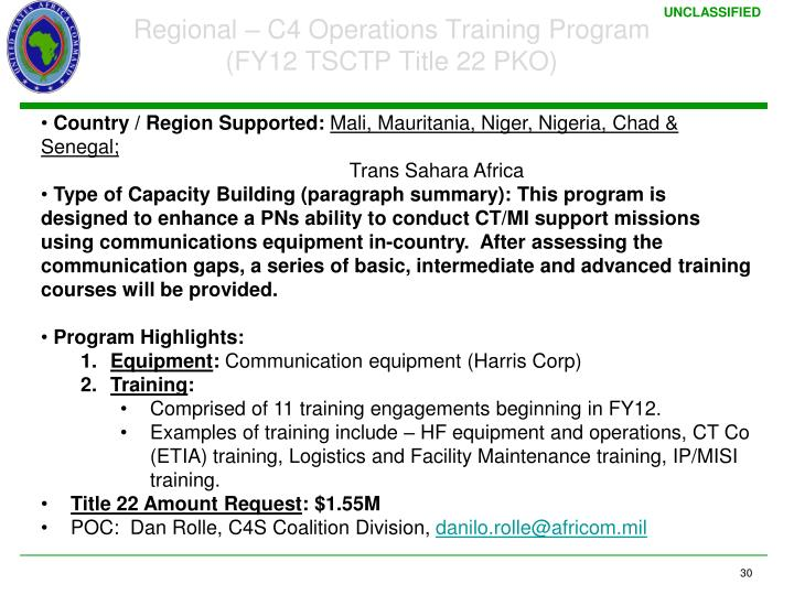 Regional – C4 Operations Training Program