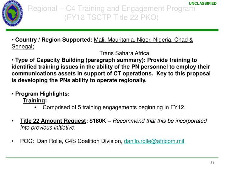 Regional – C4 Training and Engagement Program