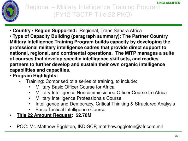 Regional – Military Intelligence Training Program
