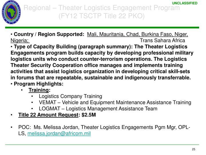 Regional – Theater Logistics Engagement Program