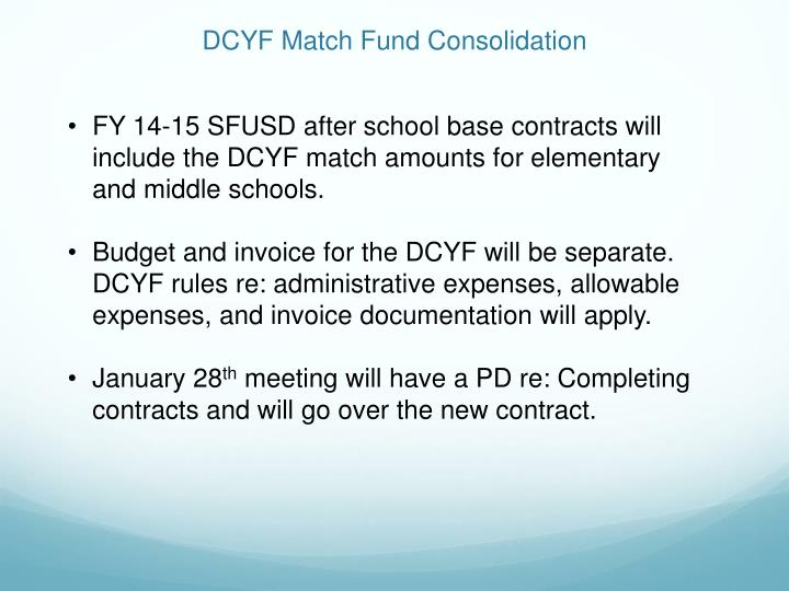 DCYF Match Fund Consolidation