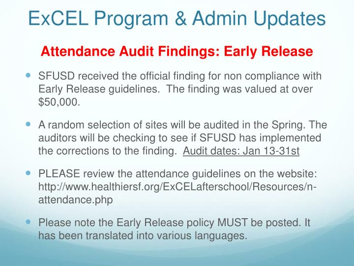 ExCEL Program & Admin Updates
