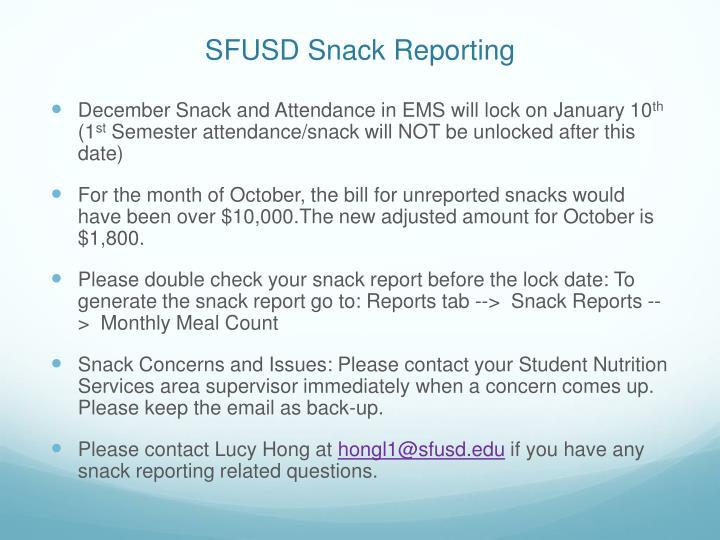 SFUSD Snack Reporting