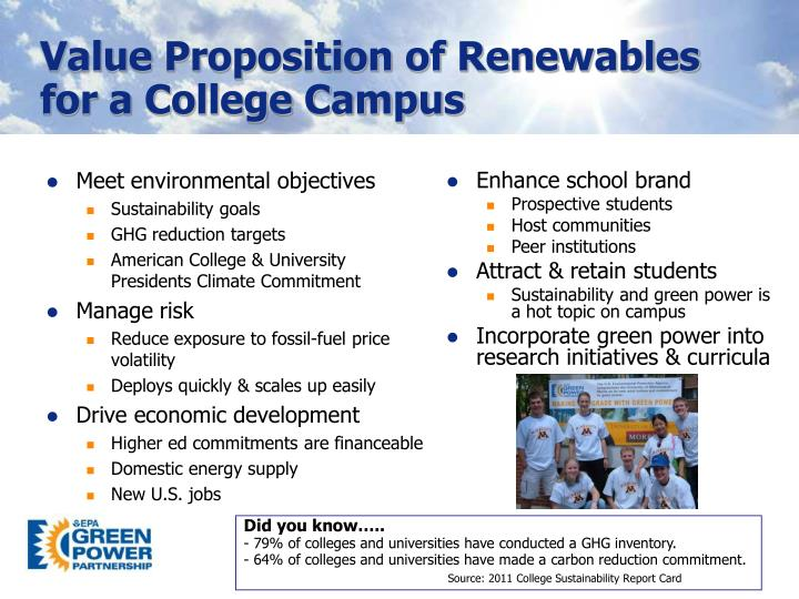 Value Proposition of Renewables for a College Campus