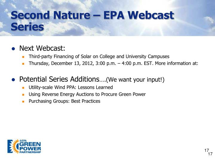 Second Nature – EPA Webcast Series