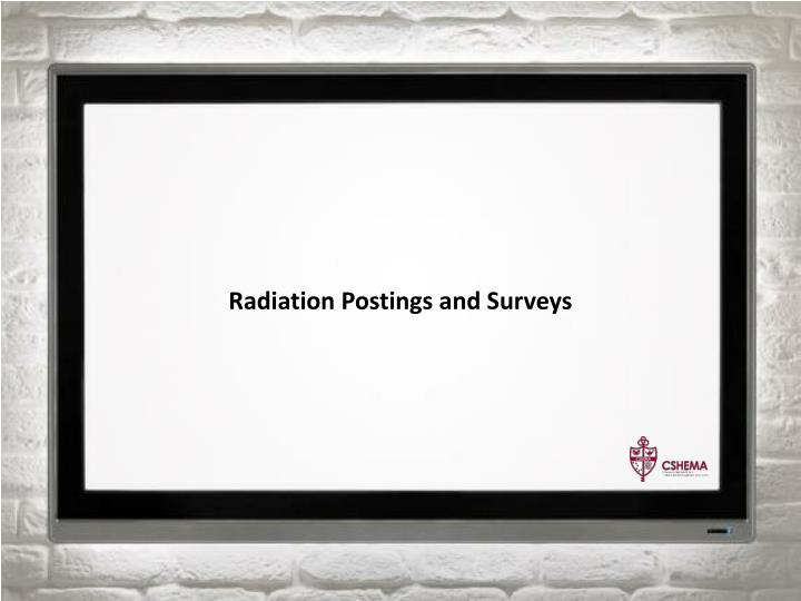 Radiation Postings and Surveys