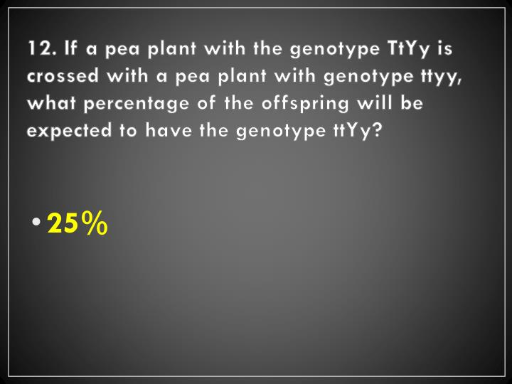 12. If a pea plant with the genotype