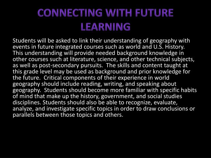 Connecting with Future Learning