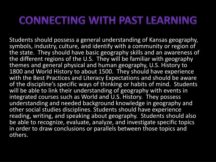 Connecting with Past Learning