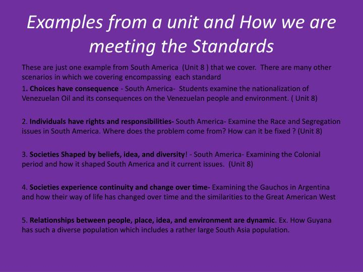 Examples from a unit and How we are meeting the Standards