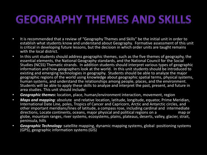 Geography Themes and Skills