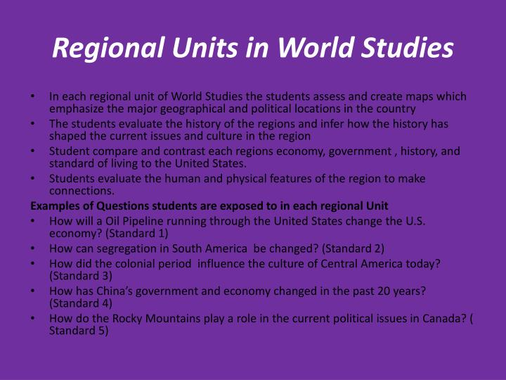 Regional Units in World Studies