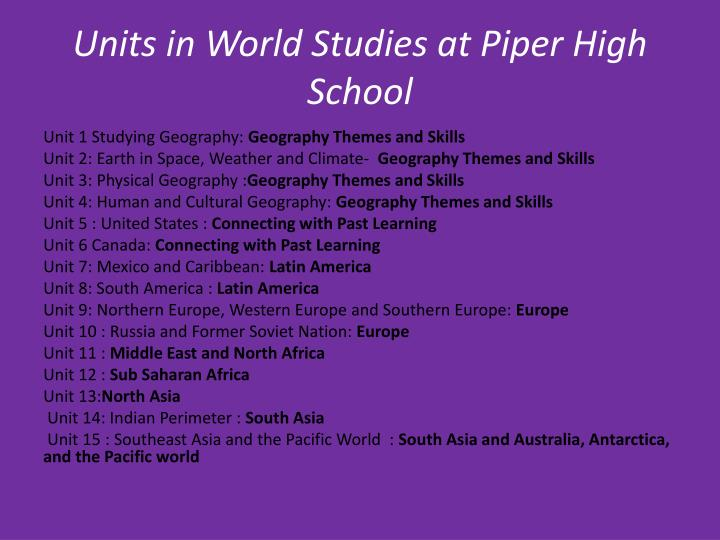 Units in World Studies at Piper High School