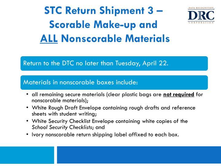 STC Return Shipment 3 –