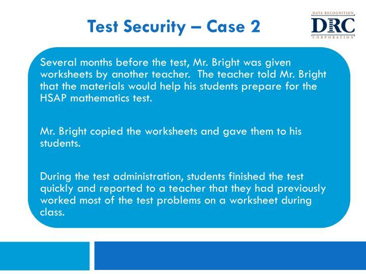 Test Security – Case 2