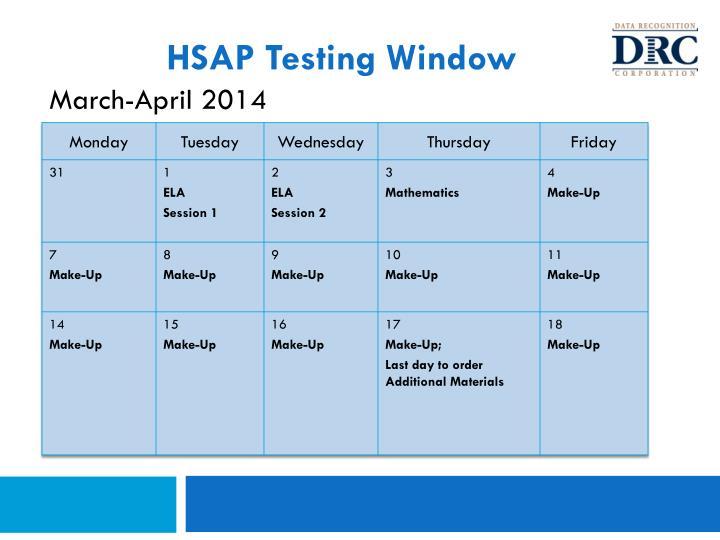 HSAP Testing Window