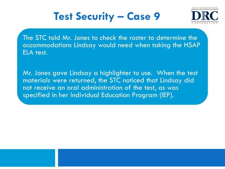 Test Security – Case 9