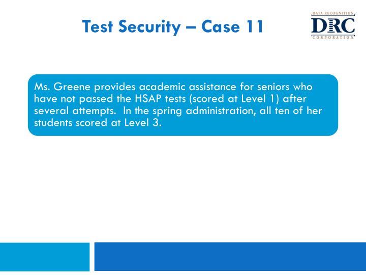 Test Security – Case 11