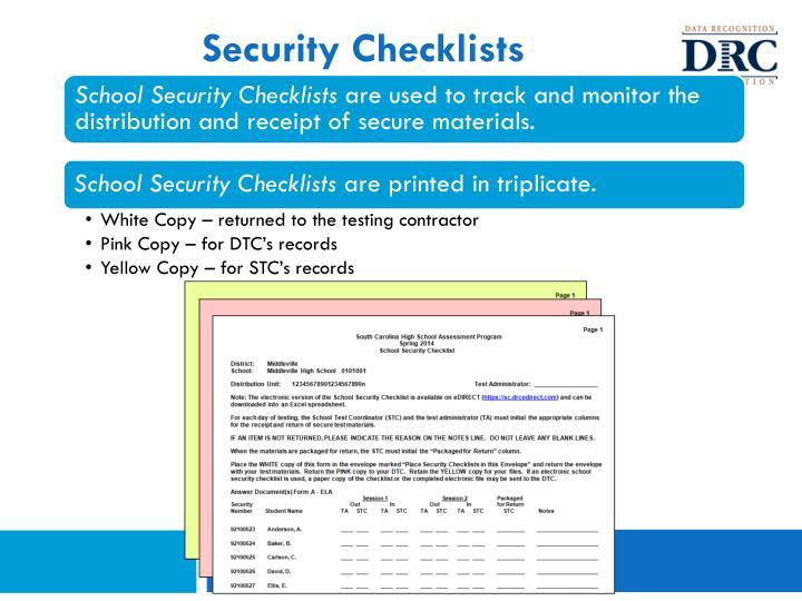 Security Checklists